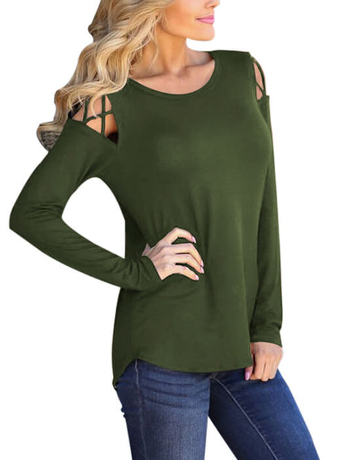 03fd6c6094c54d Army Green Crisscross Cold Shoulder Long Sleeve Shirt