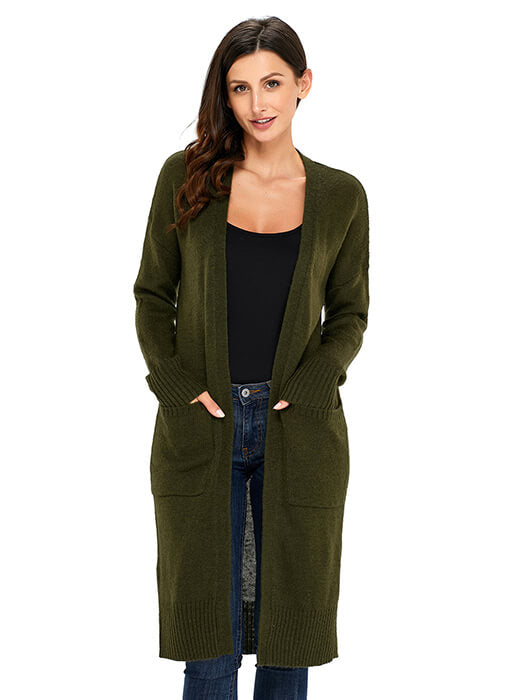 Army Green Knit Long Sleeve Open Front Cardigan – WhatsMode 0ae29d464