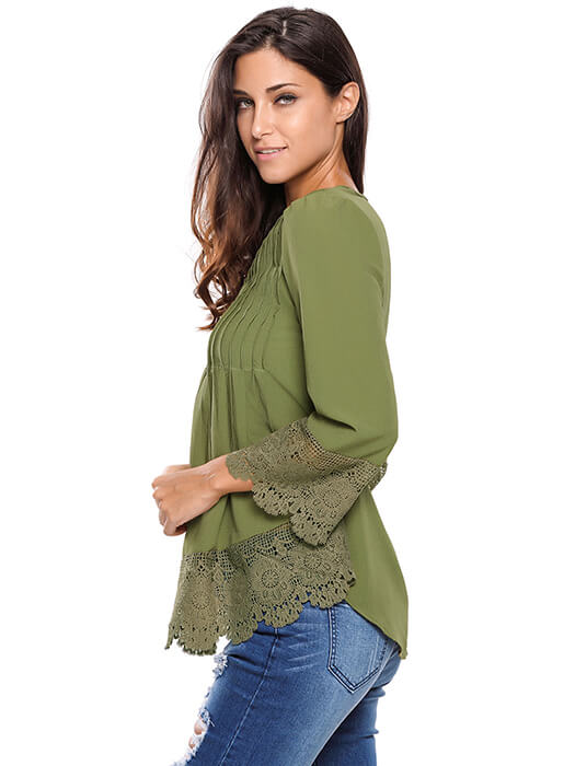 Army Green Lace Detail Button Up Sleeved Blouse