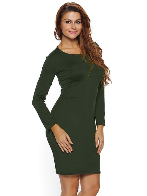 1f2c7bcf044cdc Army Green Lace Up Back Long Sleeve Bodycon Mini Dress