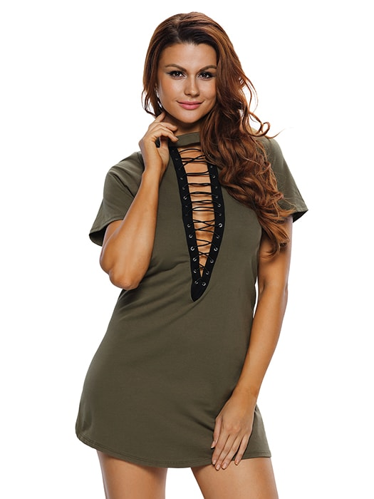 Army Green Lace Up Half Sleeves Tee Dress