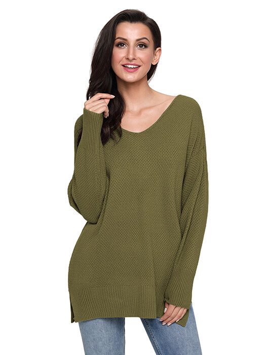 Army Green Oversized Long Sleeve Knitted V-Neck Sweater