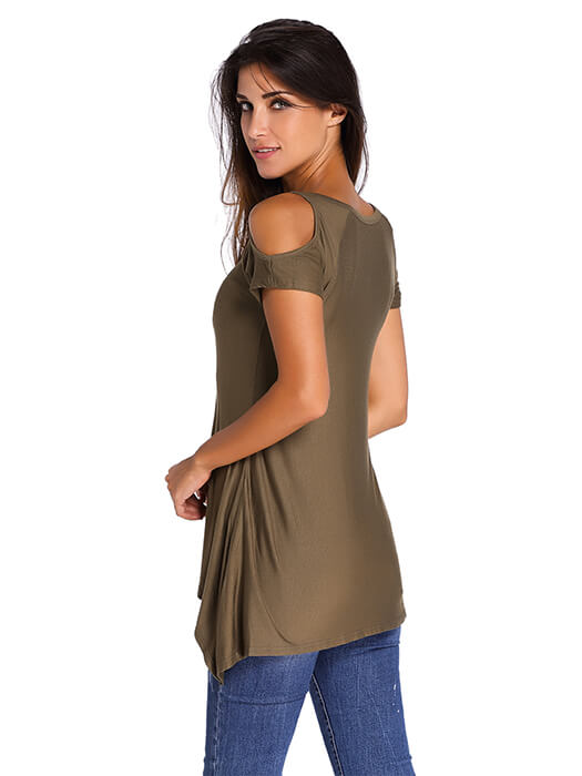 b65a09304f3cc Army Green V Neck Cold Shoulder Swing Top – WhatsMode