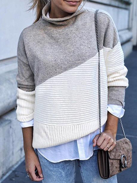 High Neck Sweater Contrast Color Long Sleeve Loose Knitwear