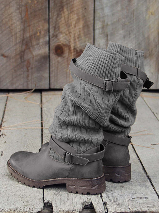 Sweater Boots  Buckle Casual Boots