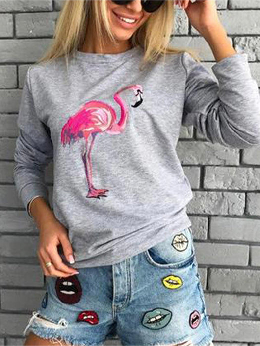 Flamingo Printed Crew Neck Casual T-Shirt