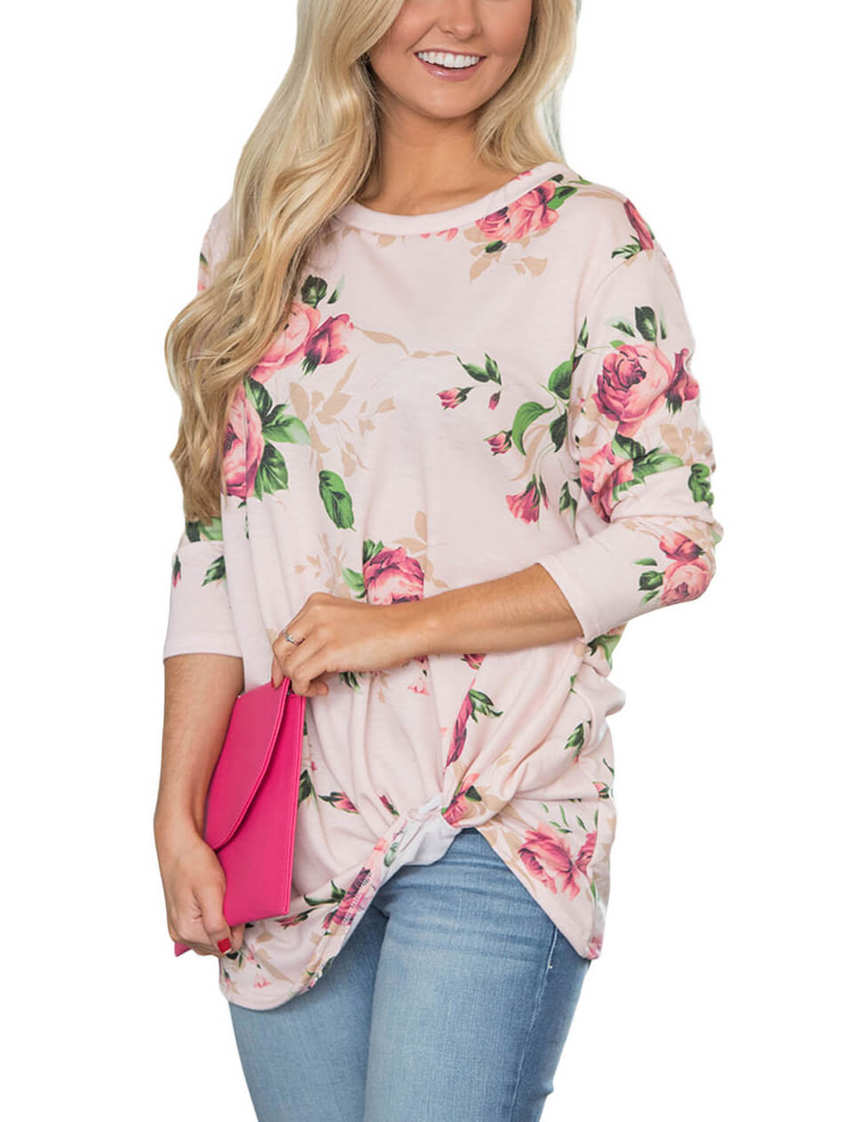 Beige-Long-Sleeve-Knotted-Floral-Print-Blouse