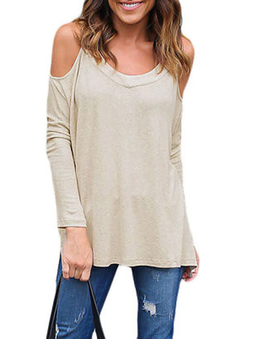 f17d4cb7102513 Beige Long Sleeve Relaxed Fit Cold Shoulder Top