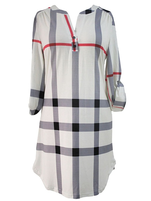 Beige Plaid Roll up Sleeves Arched Hemline Dress