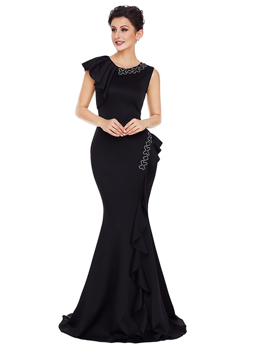 Black Asymmetric Pleats Detail Elegant Long Party Dress