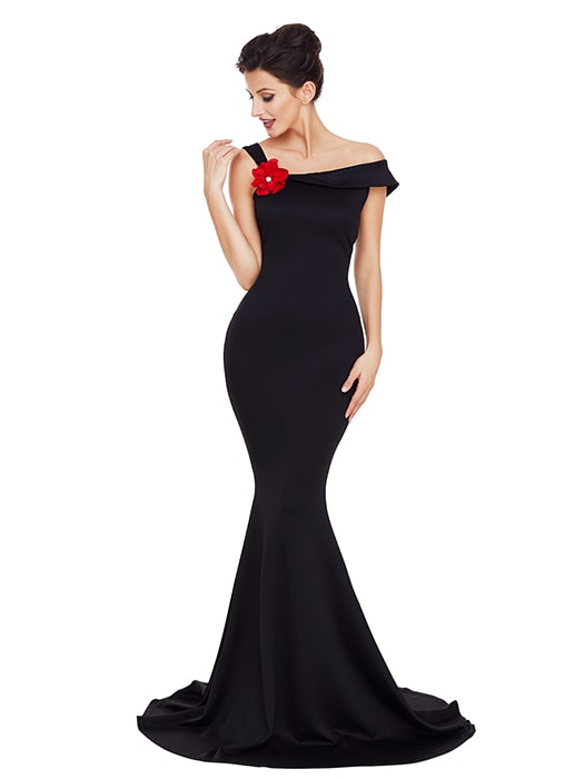 Black Asymmetric Shoulder Design Mermaid Gown