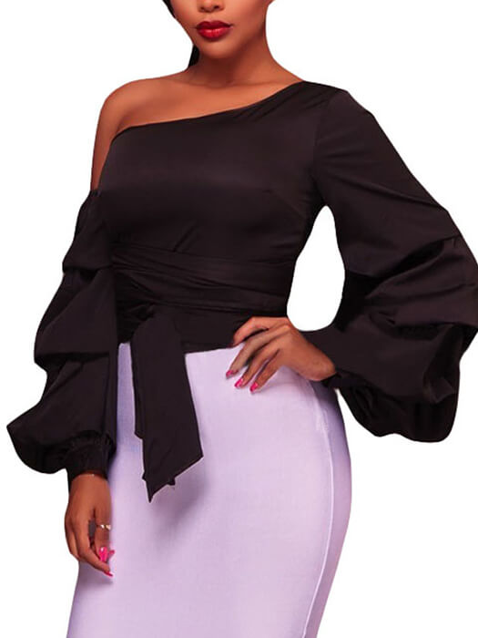 Black Asymmetrical Shoulder Ruffle Sleeve Top
