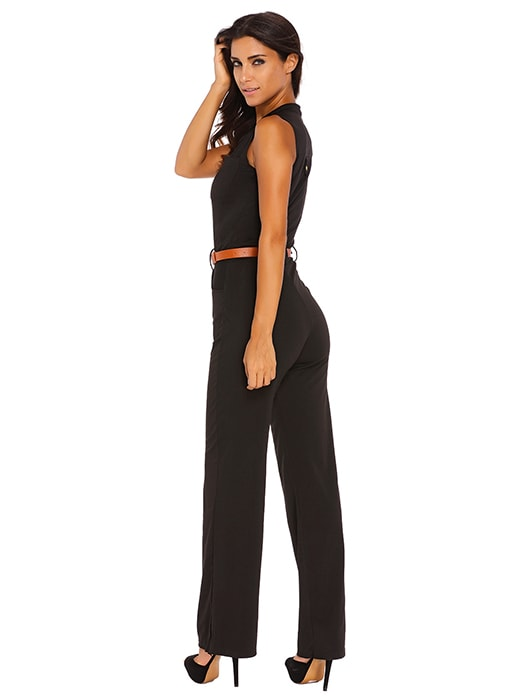 c08695acd965 Black Belted Wide Leg Jumpsuit – WhatsMode
