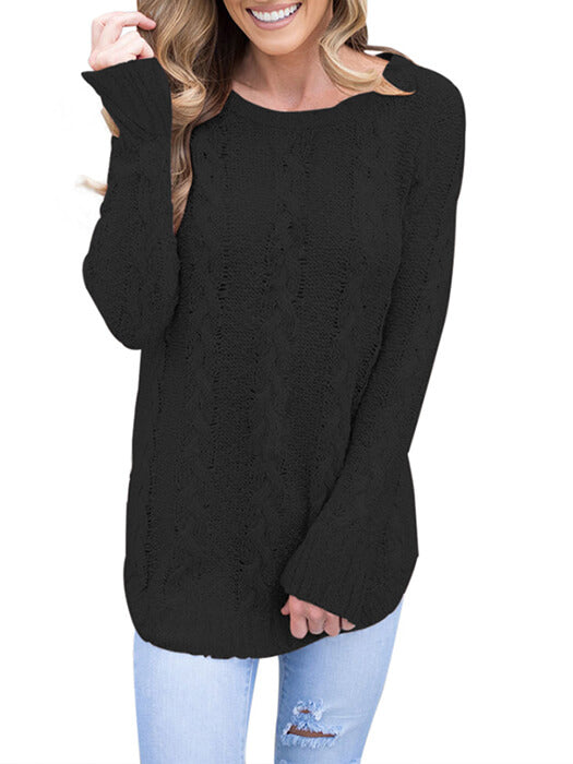 Black Cable Knit Fall Winter Sweater