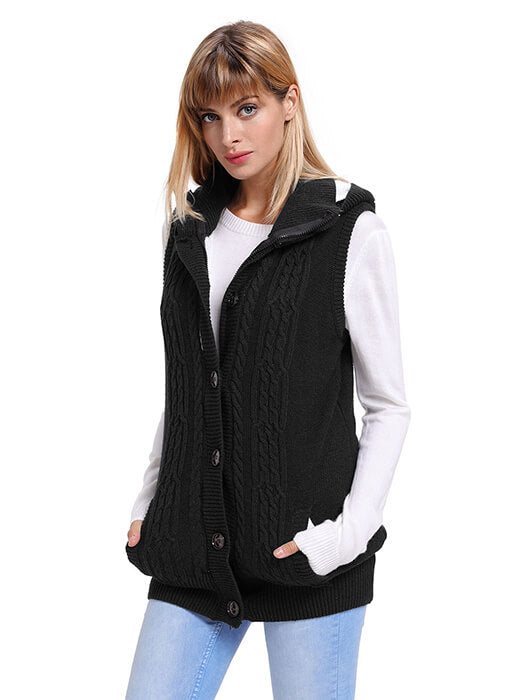 Black Cable Knit Hooded Sweater Vest Whatsmode