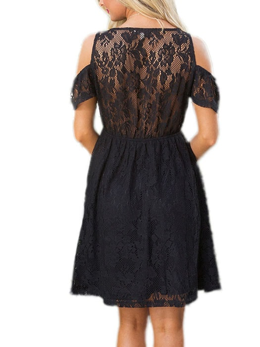 Black Cold Shoulder Floral Embroidery Lace Dress Whatsmode