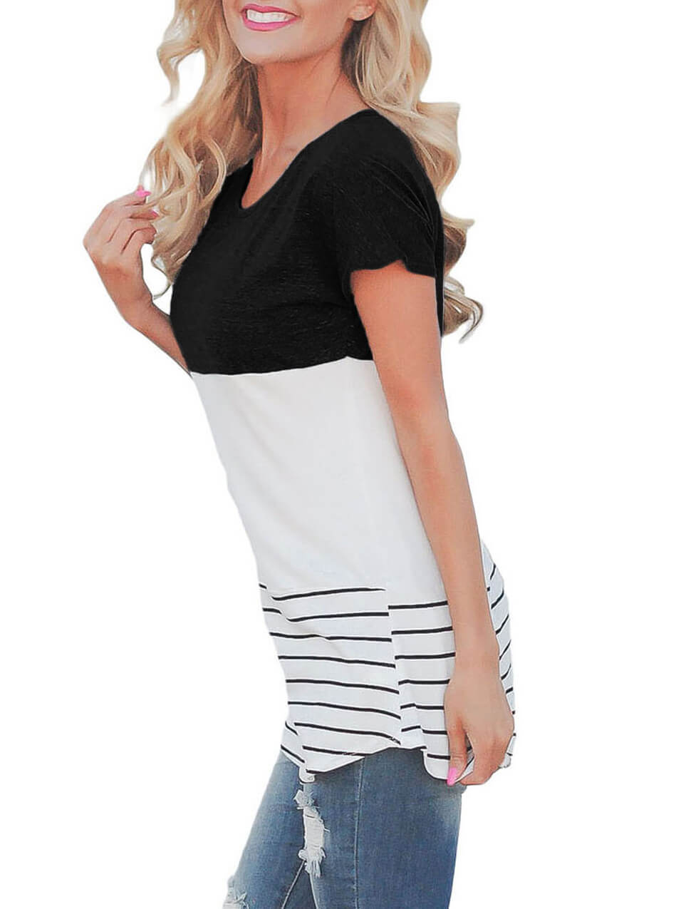 Black-Color-Block-Striped-Long-Top