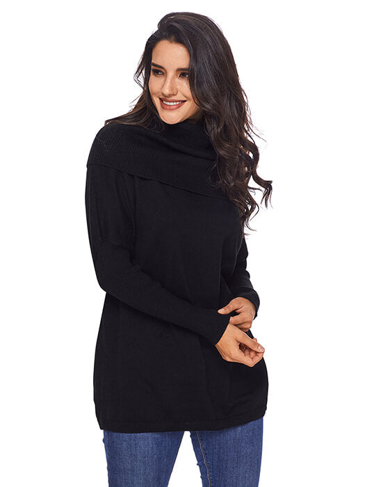 Black Cozy Cowl Neck Long Sleeve Sweater