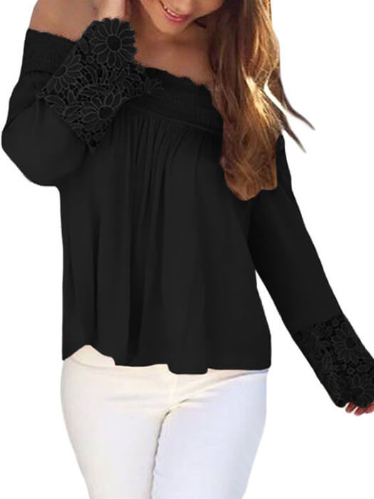 Black Crochet Lace Long Sleeve Off Shoulder Top