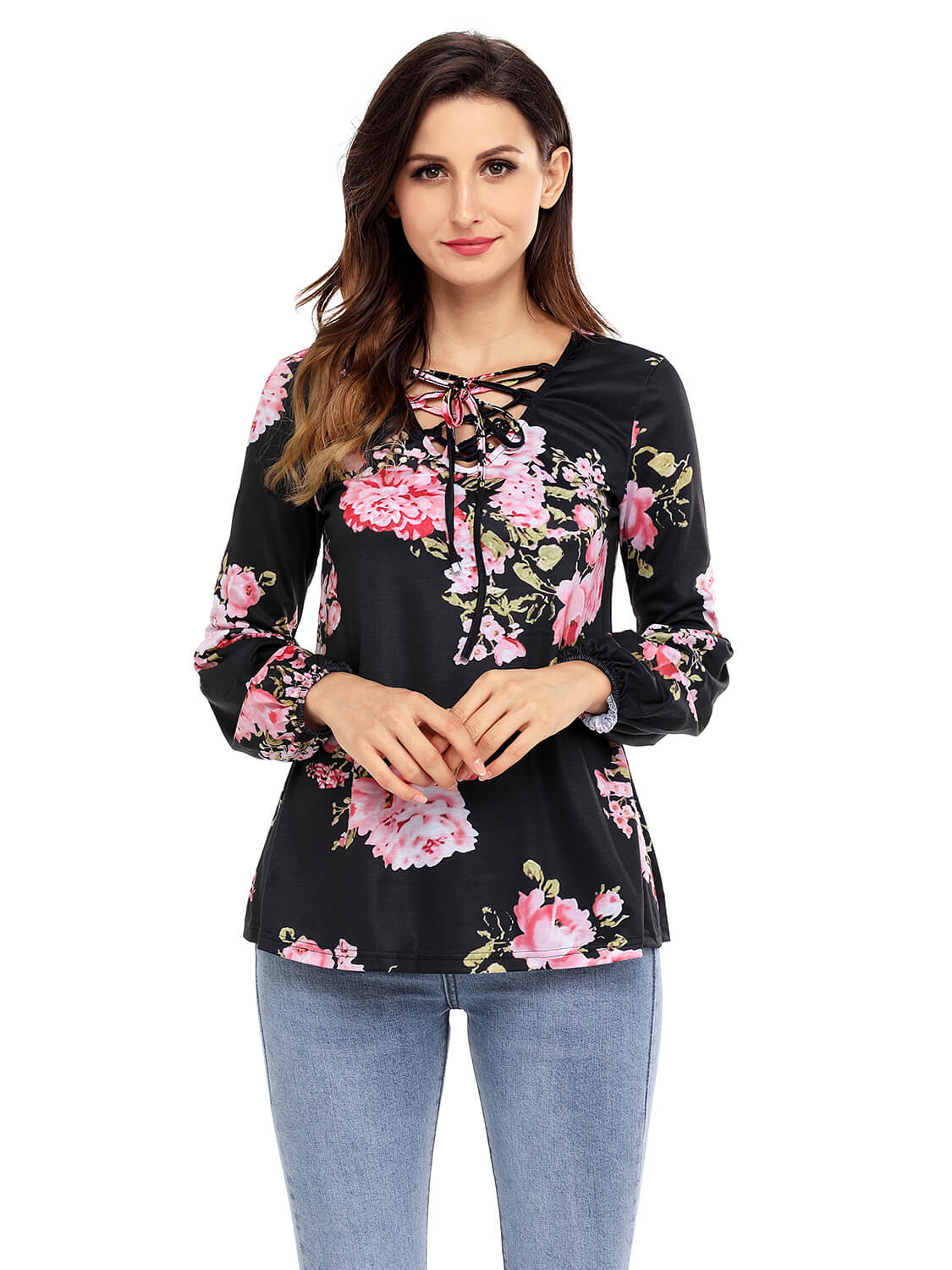 Black-Floral-Criss-Cross-Long-Sleeve-Top