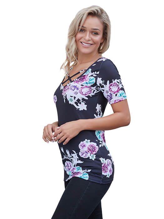Black Floral Crisscross Neck Detail Short Sleeve Top