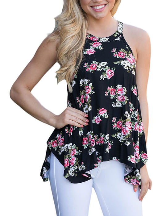 Black Floral Print Sleeveless Tank