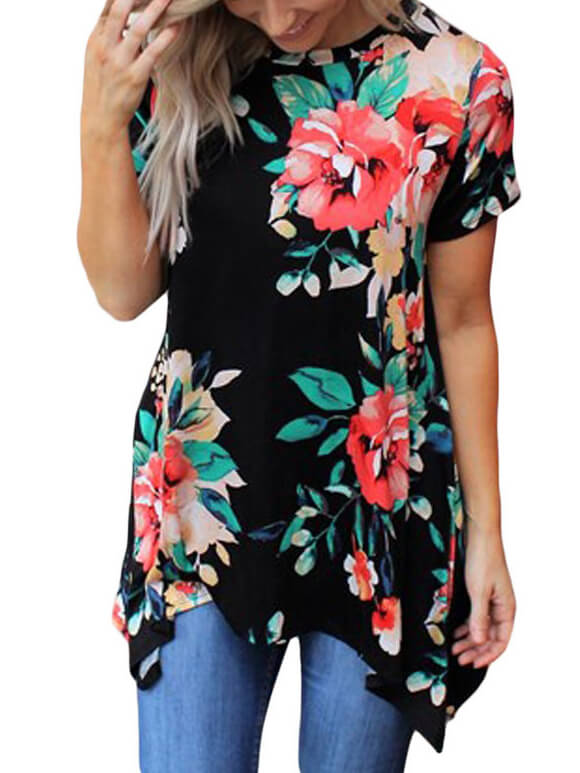 Black-Floral-Short-Sleeve-Tunic