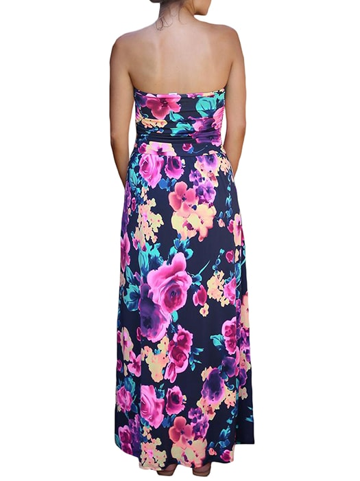 Black Fuchsia Floral Strapless Maxi Dress with Pockets