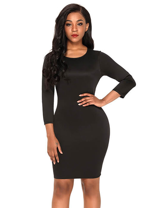 427047aac1 Black Hollow-out Back Long Sleeve Bodycon Dress