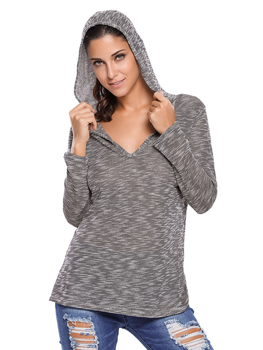 Black Hooded V-Neck Long Sleeve Loose Knitted Top