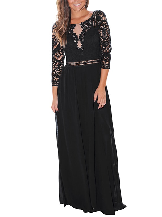 Black Lace Crochet Quarter Sleeve Maxi Dress