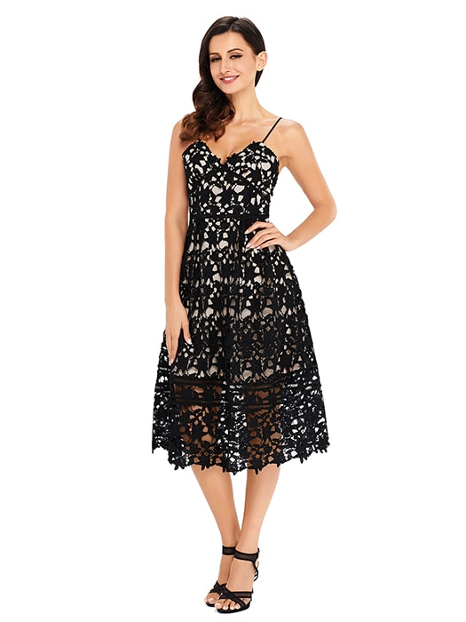 Black Lace Hollow Out Nude Illusion Party Dress Whatsmode