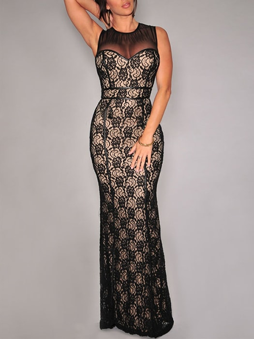 Black Lace Nude Illusion Mesh Accent Gown