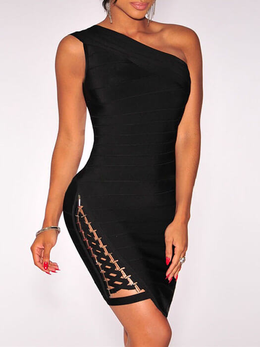 Black Lace up One Shoulder Bandage Dress
