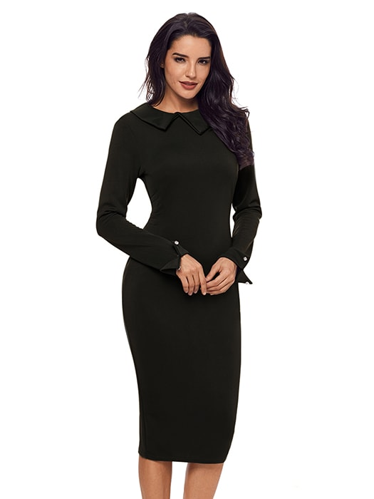 Black Lapel Neck Bodycon Formal Office Dress Pencil Dress