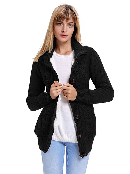 94269f5a38d Black Long Sleeve Button-up Hooded Cardigans – WhatsMode