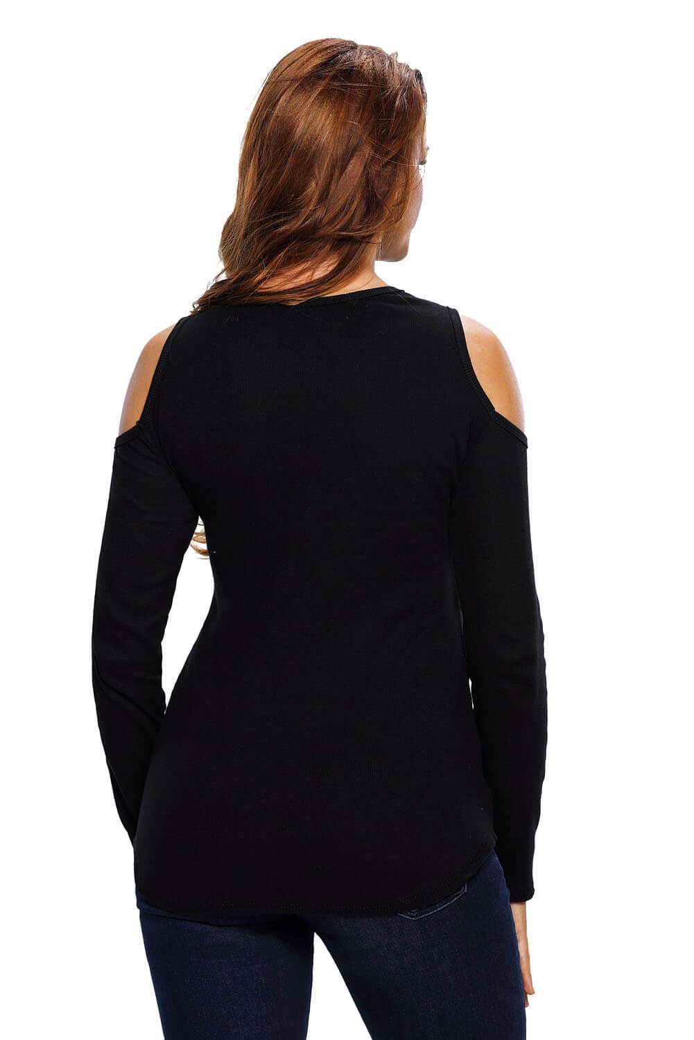Black Long Sleeve Cut-out Shoulder Ribbed Top