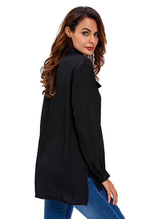 Black Long Sleeve Lace-up Top
