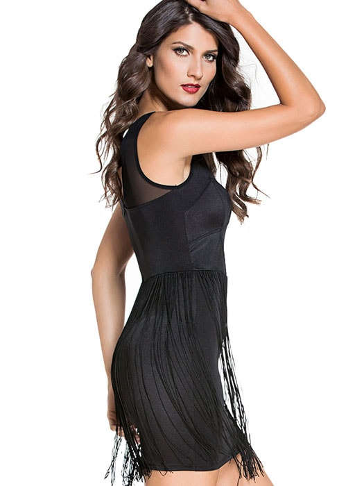 Black Mesh Accent Fringe Mini Dress
