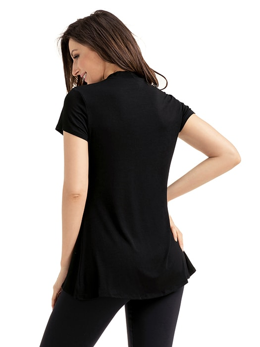 Black Mock Neck Cut out Short Sleeve Top