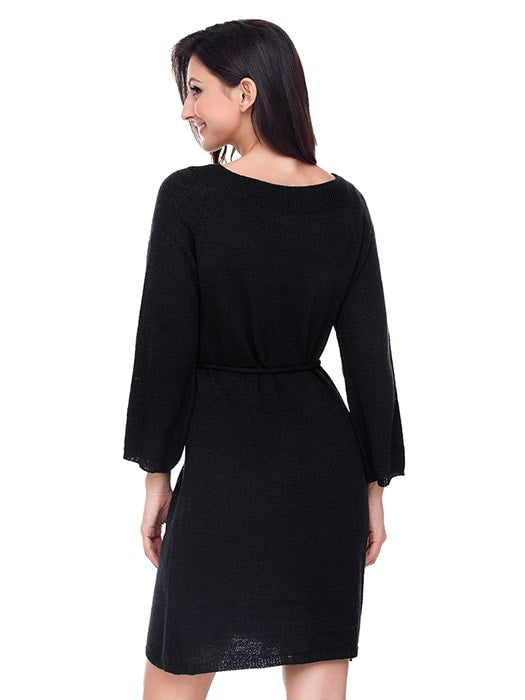 Black Off The Shoulder Knit Sweater Dress