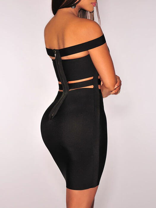 Black Off-shoulder Cut-out Bandage Dress