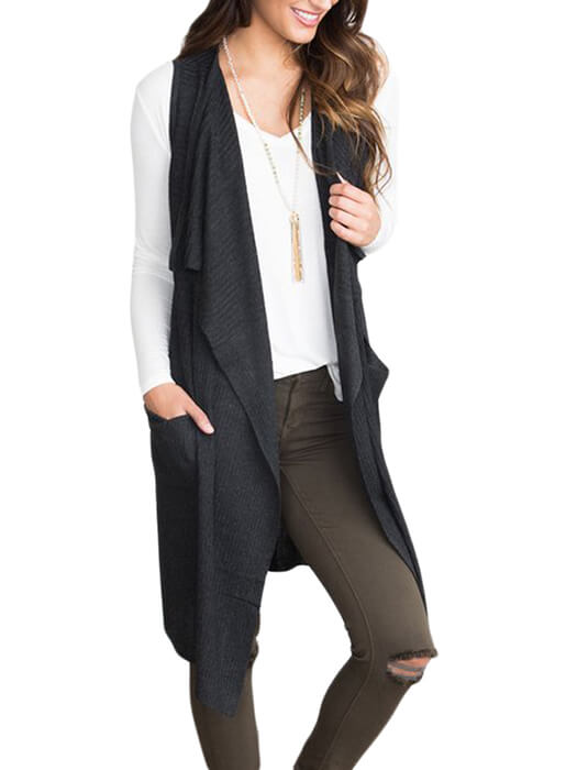 Black Pocket Long Cardigan Vest