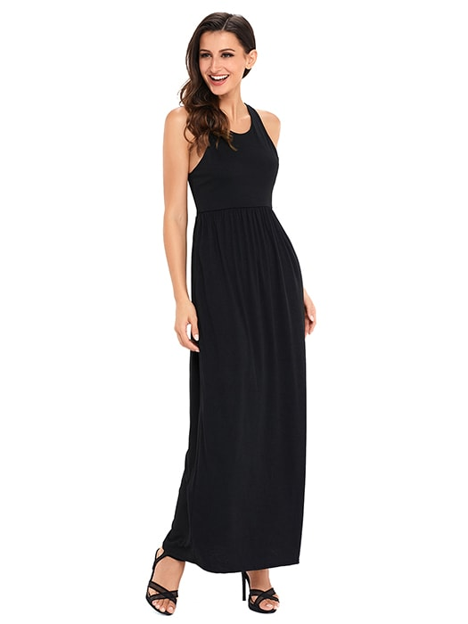 Black Racerback Maxi Dress With Pockets Whatsmode