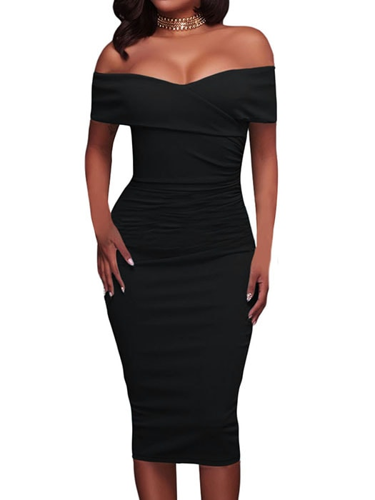 Black Ruched Off Shoulder Bodycon Midi Dress