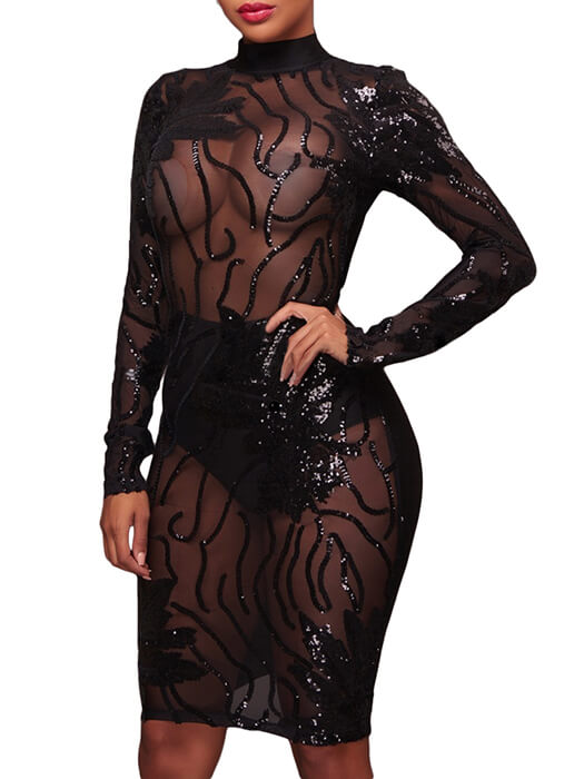 Black Sequin Decor High Neck Transparent Bodycon Dress