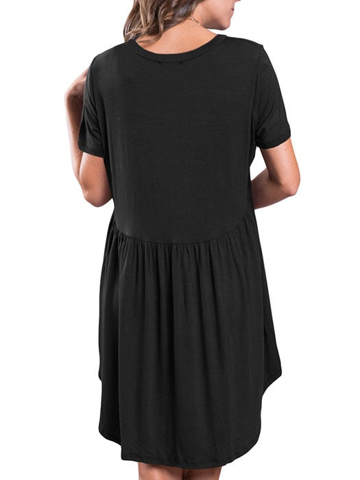 Black Short Sleeve Pullover Babydoll Style Casual Dress