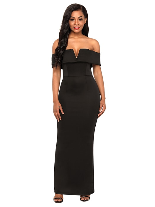 Black Social Event Red Carpet Off-shoulder Party Evening Dress ...