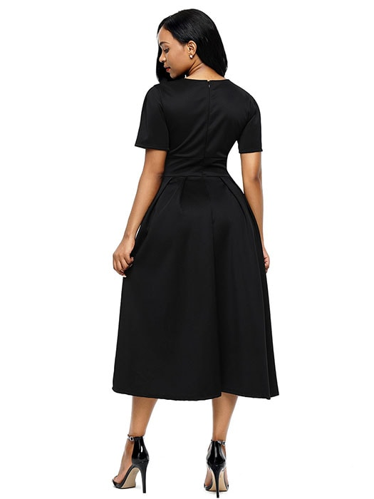 Black Split Neck Short Sleeve Midi Dress with Bowknots