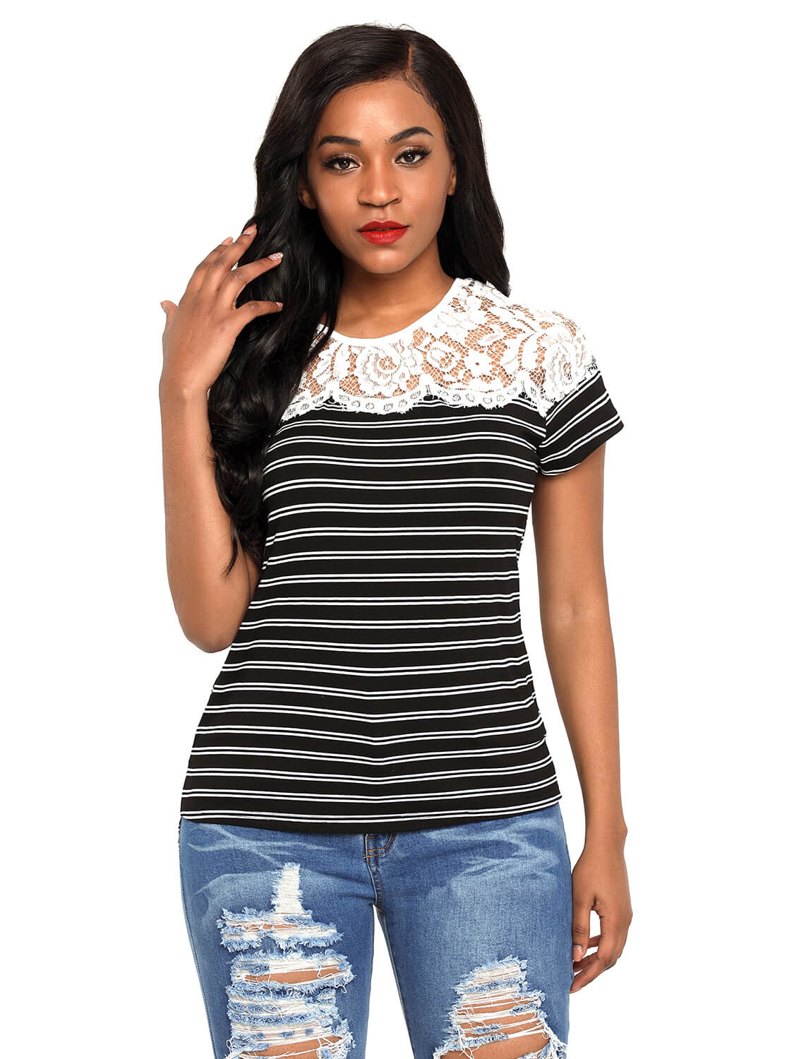 72e2b8f157c2d Black Striped Cap Sleeve Top with Lace Detail – WhatsMode